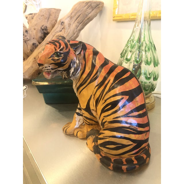 Hollywood Regency Vintage Hollywood Regency Italian Terracotta Tiger Statue For Sale - Image 3 of 13