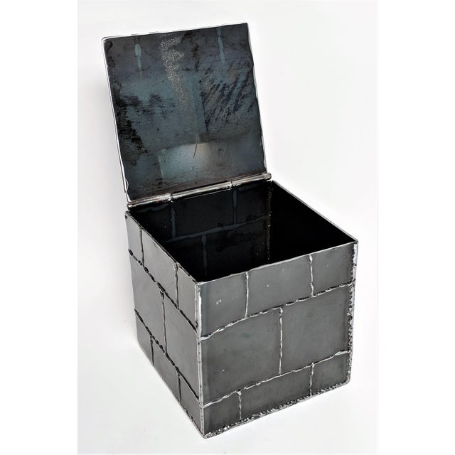 Brutalist Metal Box Hand Welded Box For Sale - Image 9 of 12