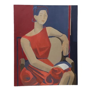 """Vintage """"Woman in Red"""" Oil Portrait C.1960s For Sale"""