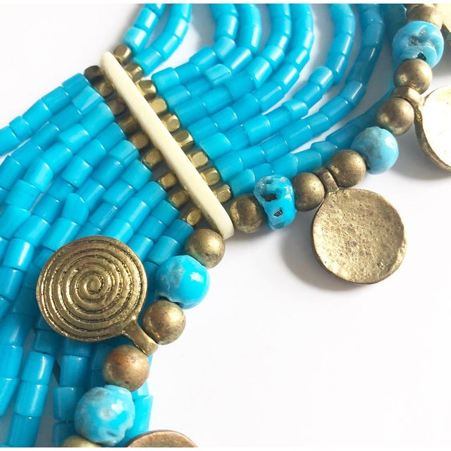 Gold Vintage Beaded Turquoise Style Necklace With Faux Gold Metal Coins For Sale - Image 7 of 11