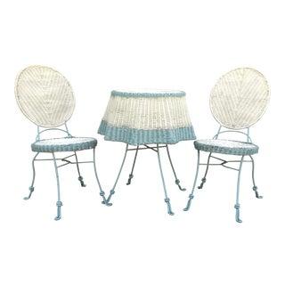 1900's Wicker Draped Umbrella Table & Chair Set