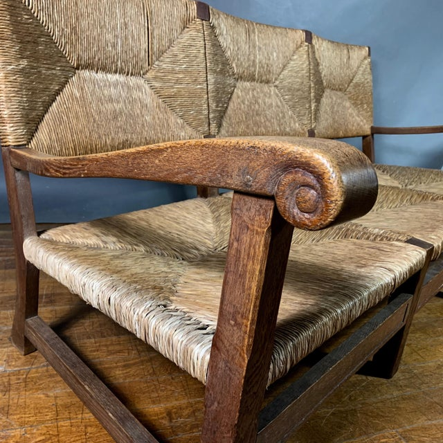 Large 1940s Continental Woven Rush 3-Seat Settee For Sale In New York - Image 6 of 13