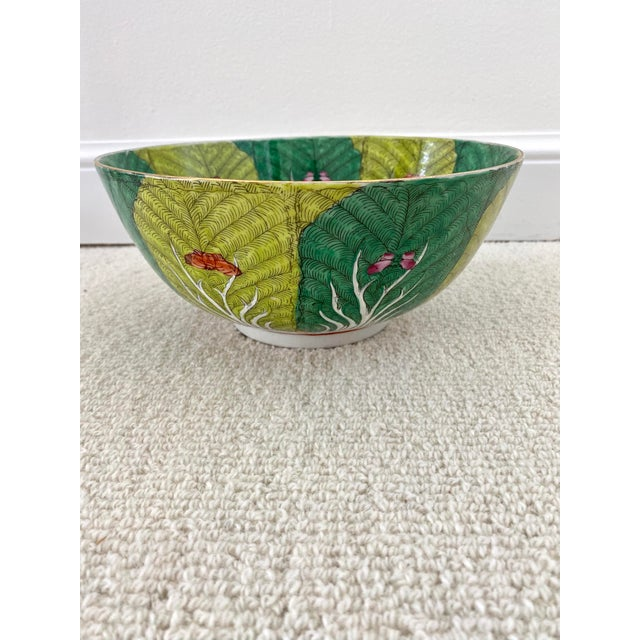Mid 20th Century Vibrant Green Porcelain Bowl With Butterflies For Sale - Image 5 of 10