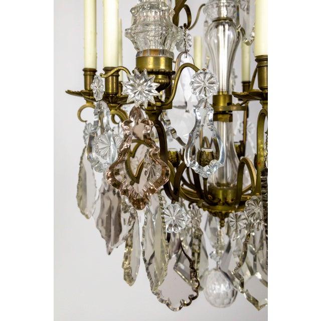 Belle Epoque Tall Bronze Belle Epoque 21-Light Chandelier W/ Smoke & Mauve Crystals For Sale - Image 3 of 13
