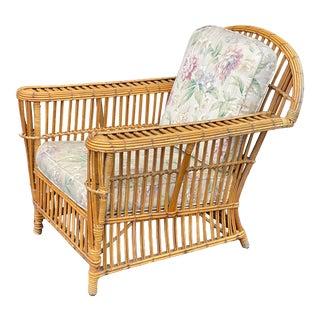 Art Deco Stick Rattan Lounge Chair For Sale