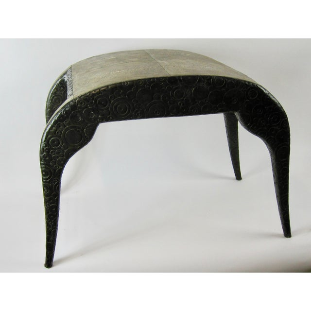 R & Y Agousti French Style Ebony & Shagreen Bench - Image 10 of 10