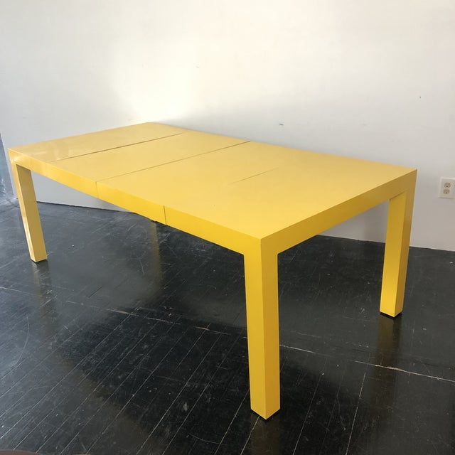 Bright yellow parsons square dining / craft table with 2 lead extensions and sturdy metal rails. Each leaf is 19.5. With 2...