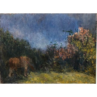 Impressionist Landscape With Horse Oil on Panel, Double Sided For Sale