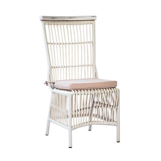 Antiqued White Rattan Outdoor Chair For Sale