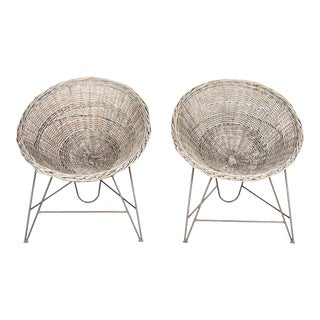 1960s Vintage Rattan Hoop Chairs - a Pair For Sale