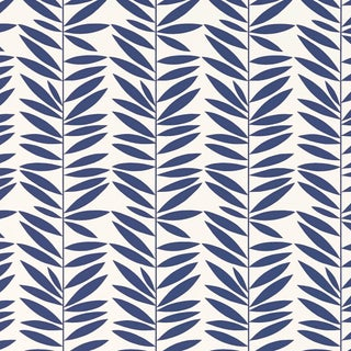 Sample - Schumacher Leaf Stripe Wallpaper in Marine For Sale