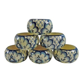 Hand Painted Wood Napkin Rings - Set of 6