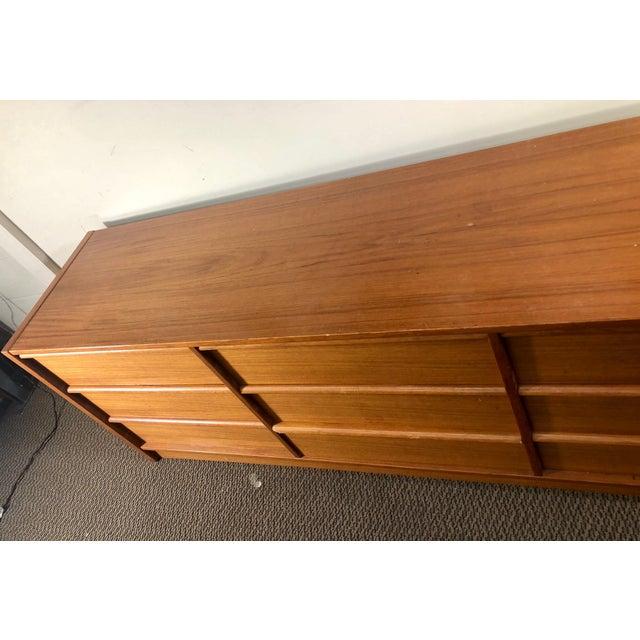 Mid Century Modern Danish Teak Lowboy 9 Drawer Dresser by Jesper For Sale - Image 11 of 13