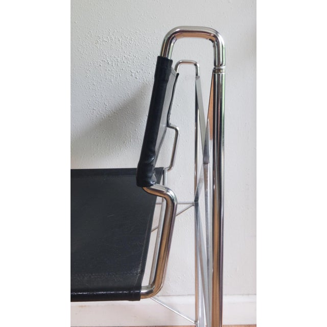 1970s Mid Century Modernist Italian Chrome X Base Lounge Chair For Sale - Image 5 of 6