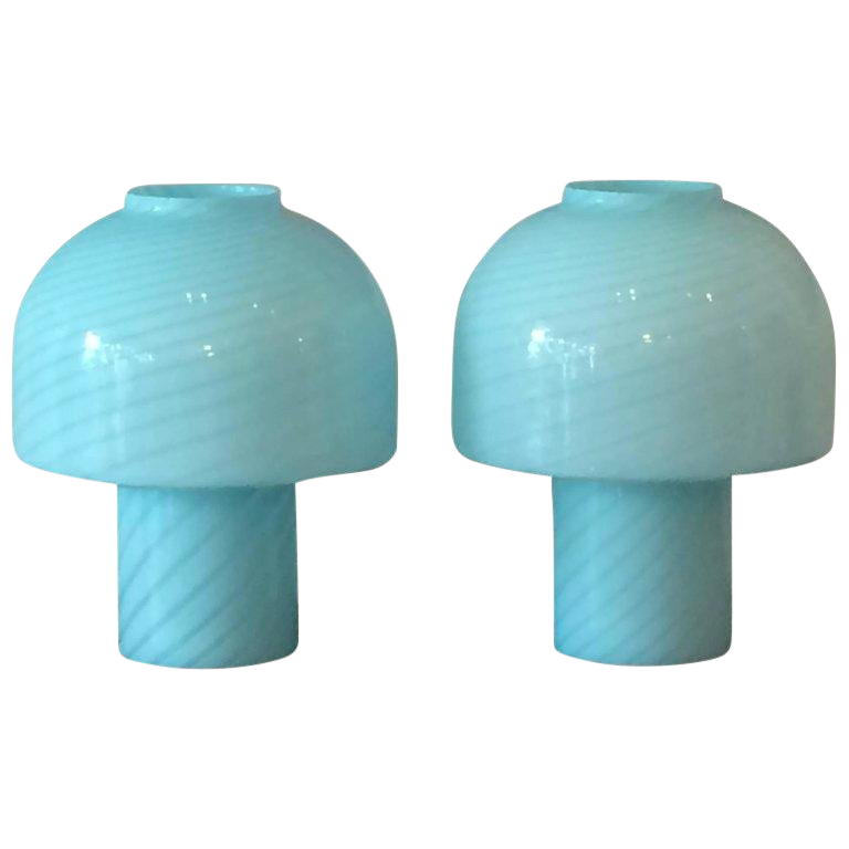 glass bedside table lamps glass jar 1980s vintage vetri murano glass blue swirl table lamps pair for sale used bedside for chairish