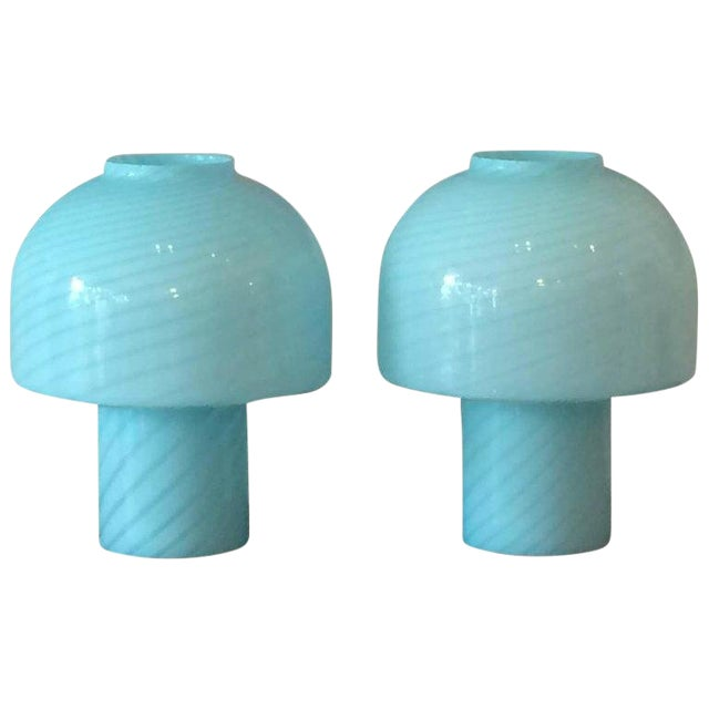 1980s Vintage Vetri Murano Glass Blue Swirl Table Lamps - A Pair For Sale