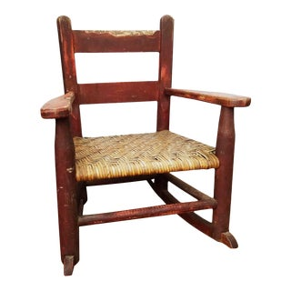 Antique Handmade Children's Red Rocking Chair With Wicker Seat For Sale