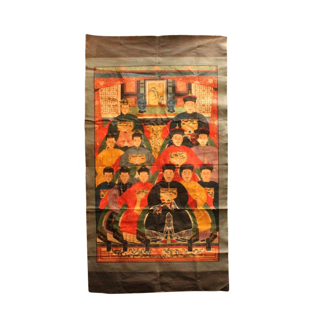 Chinese Hand-Painted Canvas Color Ink Ancestors Painting Art For Sale