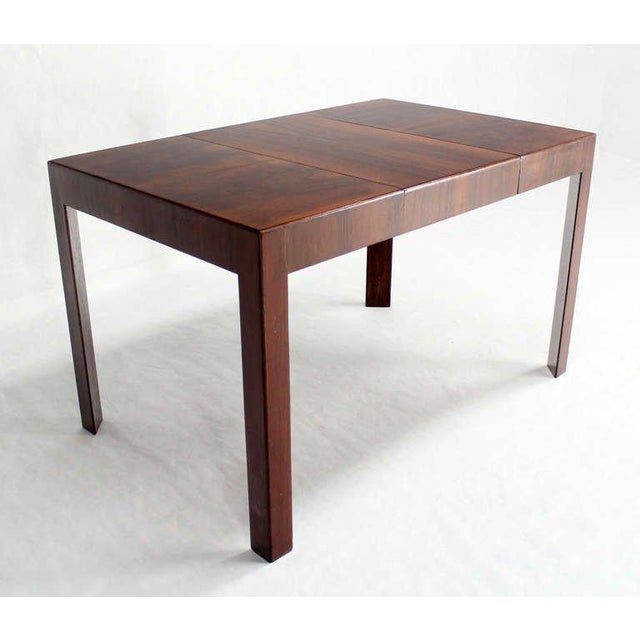 Mid-Century Modern Oiled Walnut Italian Mid-Century Modern Game or Dining Table with One Leaf For Sale - Image 3 of 8