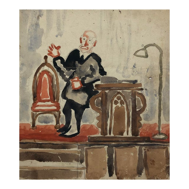 Preacher With a Gothic Chair, Watercolor by Alf Evers, 1930s For Sale