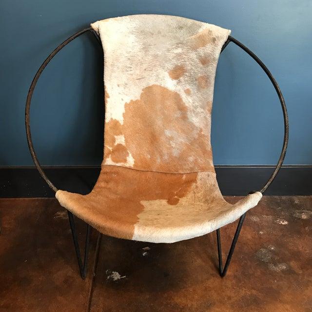 Mid-Century Cowhide Sling Hoop Chairs - Image 7 of 10
