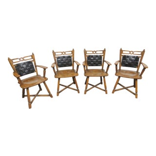Viking Oak & Leather Dining Chairs- Set of 4 For Sale