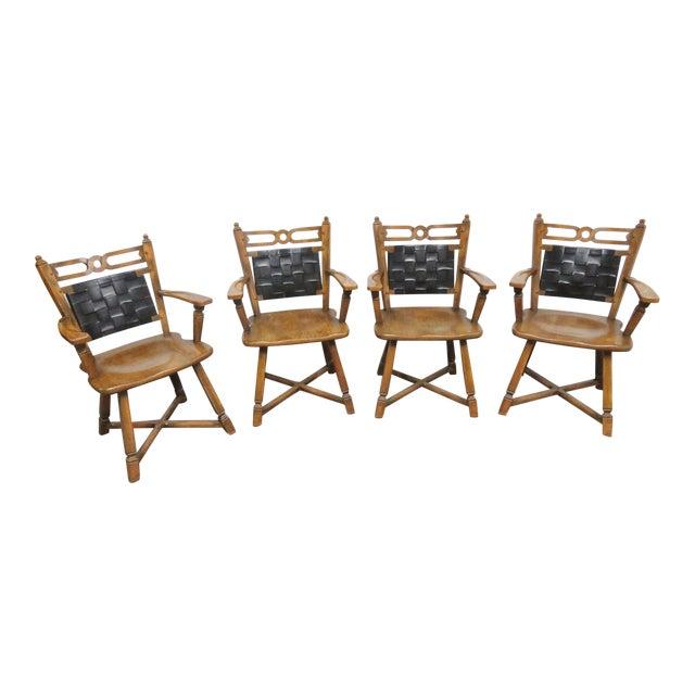 Amazing Viking Oak Leather Dining Chairs Set Of 4 Theyellowbook Wood Chair Design Ideas Theyellowbookinfo