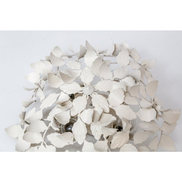 White White Tole Leaf Cluster Low Relief Wall or Ceiling Lights - 3 Available For Sale - Image 8 of 9