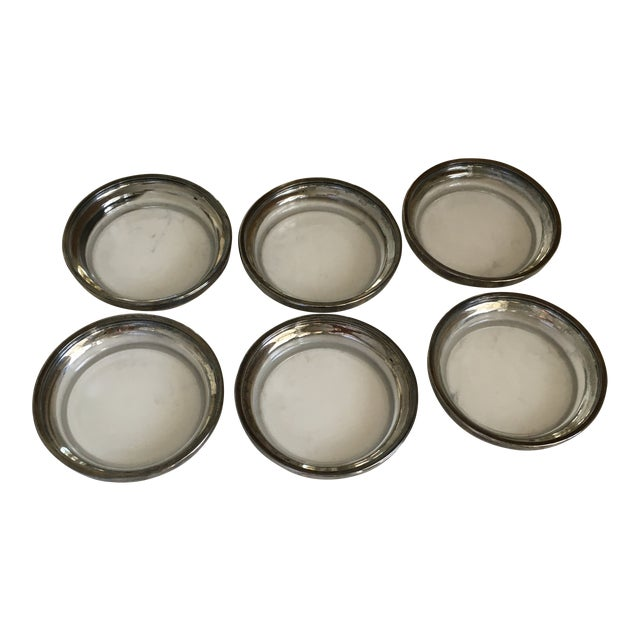 Dorothy Thorpe Glass and Silver Coasters - Set of 6 For Sale