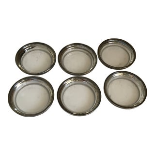 Dorothy Thorpe Style Glass and Silver Coasters - Set of 6 For Sale