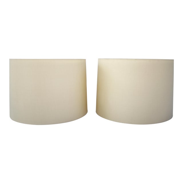 Ivory Silk Drum Shades W/Diffusers - a Pair For Sale