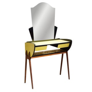Art Deco Black & Yellow Lacquered Vanity With Mirror For Sale