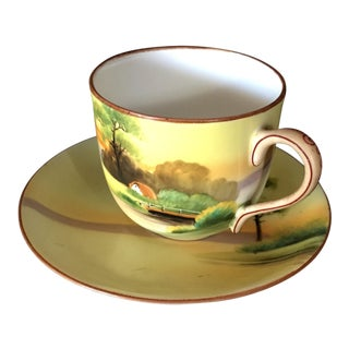 1950s Nippon Hand Painted Tree Teacup and Saucer - a Pair For Sale