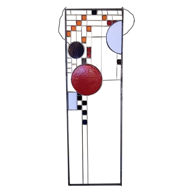 Frank Lloyd Wright Style Stained Glass Window For Sale