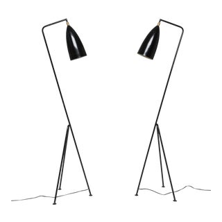 Pair of Mid-Century 'Grasshopper' Floor Lamps in the Manner of Greta Grossman For Sale