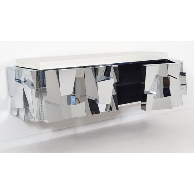 Chrome Paul Evans Cityscape ii Faceted Console, model PE370, 1973 For Sale - Image 7 of 8