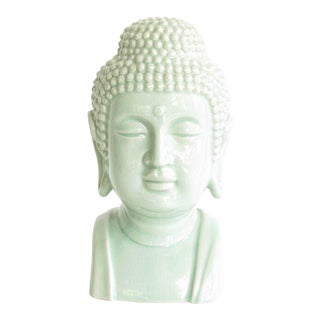 Vintage Toyo Japan Celadon Ceramic Buddha Bust For Sale
