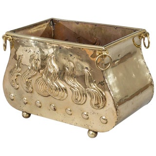 Brass Serpentine-Shaped Coal Scuttle For Sale