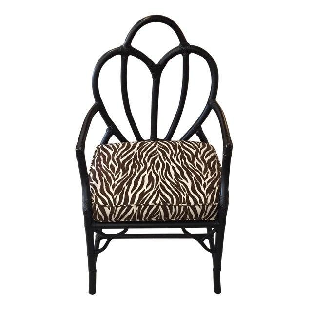 Black Rattan Zebra Pattern Fabric Chair - Image 1 of 6