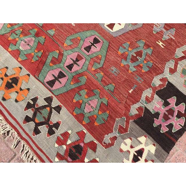 Textile Rustic Turkish Kilim Rug For Sale - Image 7 of 11