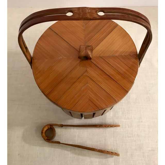 Vintage Bamboo Ice Bucket & Tongs - A Pair - Image 2 of 11