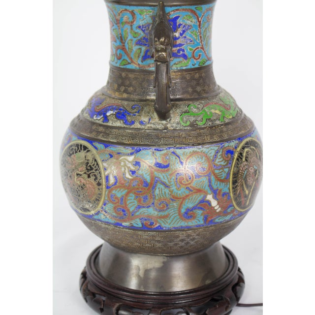 Early 20th Century Restored Vintage Champleve Table Lamp For Sale - Image 5 of 9