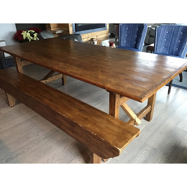 Pottery Barn Country Pottery Barn Dining Table with Bench For Sale - Image 4 of 11