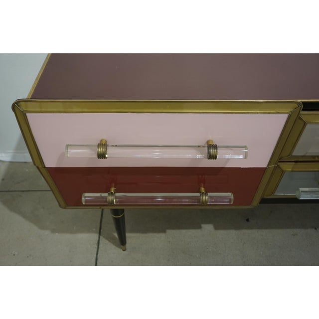 Metal 1960 Italian Vintage Rose Pink Gray Wine Gold 6 Drawers Sideboard / Console For Sale - Image 7 of 13