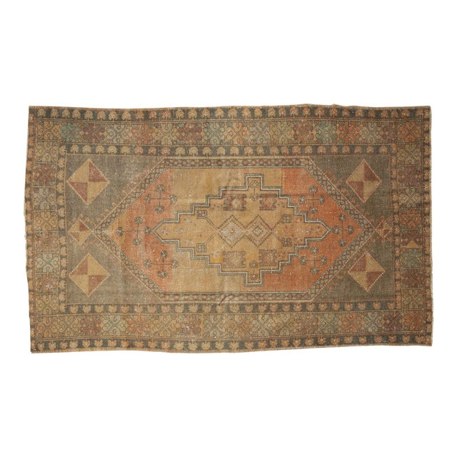 "Vintage Distressed Oushak Rug - 4'1"" x 6'7"" - Image 1 of 11"
