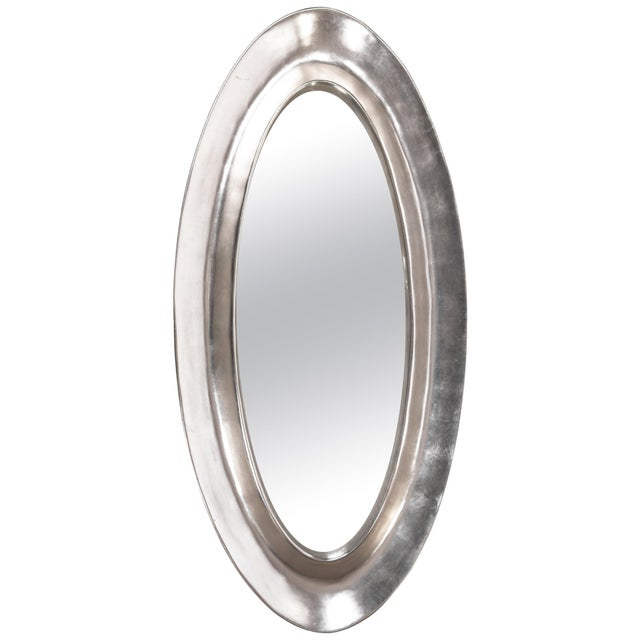 Monumental Aluminum Leaf Plaster Oval Mirror For Sale In New York - Image 6 of 6