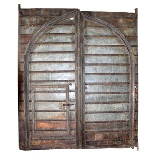 Indian Antique Carved Teak Castle Door For Sale