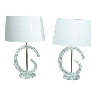 Mid-Century C-Shaped Lucite Table Lamps - a Pair For Sale