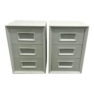 Vintage Light Blue Wood and Cane 3 Drawer Nightstands - a Pair For Sale