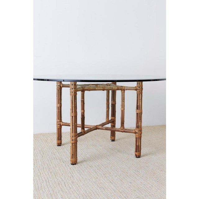 Brown McGuire Organic Modern Bamboo Rattan Round Dining Table For Sale - Image 8 of 13